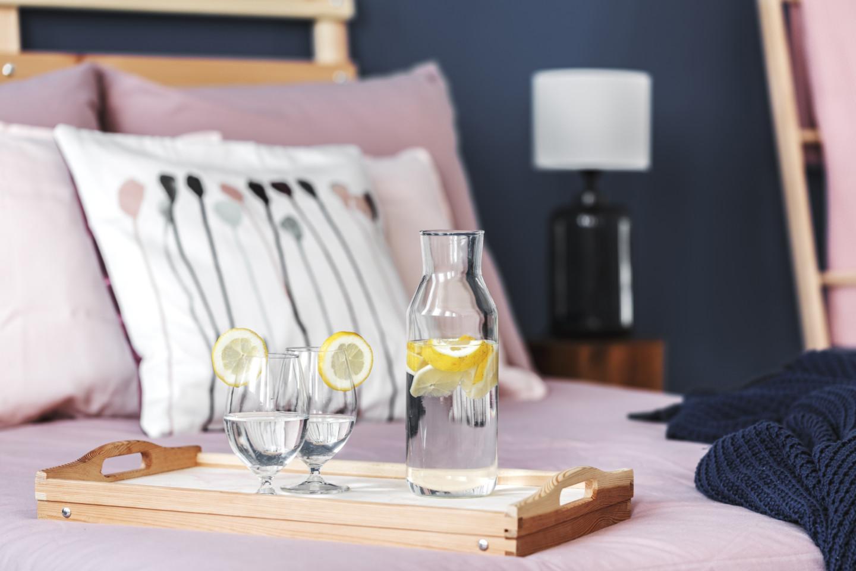 Lemon water on tray